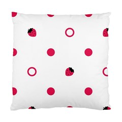 Strawberry Circles Pink Single Sided Cushion Case