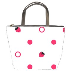 Strawberry Circles Pink Bucket Handbag