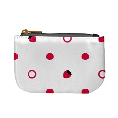 Strawberry Circles Pink Coin Change Purse