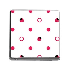 Strawberry Circles Pink Card Reader with Storage (Square)
