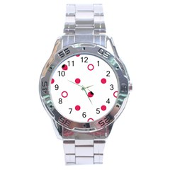 Strawberry Circles Pink Stainless Steel Analogue Watch (Round)