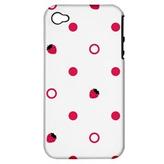 Strawberry Circles Pink Apple Iphone 4/4s Hardshell Case (pc+silicone)