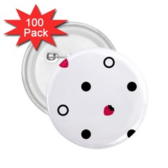 Strawberry Circles Black 100 Pack Regular Button (round)