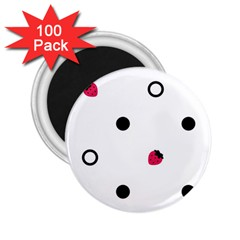 Strawberry Circles Black 100 Pack Regular Magnet (round)