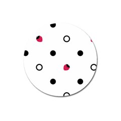 Strawberry Circles Black Large Sticker Magnet (Round)