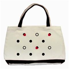 Strawberry Circles Black Black Tote Bag