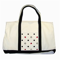 Strawberry Circles Black Two Toned Tote Bag
