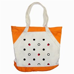 Strawberry Circles Black Snap Tote Bag
