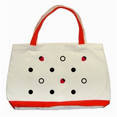 Strawberry Circles Black Red Tote Bag