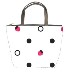 Strawberry Circles Black Bucket Handbag