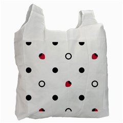 Strawberry Circles Black Twin Sided Reusable Shopping Bag