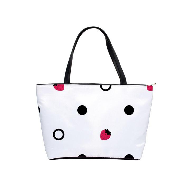 Strawberry Circles Black Large Shoulder Bag