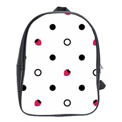 Strawberry Circles Black Large School Backpack