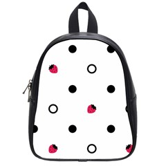 Strawberry Circles Black Small School Backpack