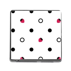 Strawberry Circles Black Card Reader with Storage (Square)
