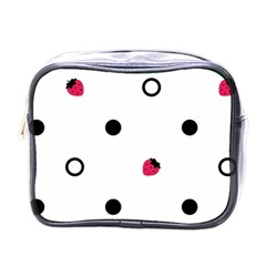 Strawberry Circles Black Single-sided Cosmetic Case