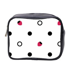 Strawberry Circles Black Twin-sided Cosmetic Case