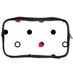 Strawberry Circles Black Twin-sided Personal Care Bag