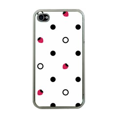 Strawberry Circles Black Apple iPhone 4 Case (Clear)