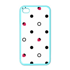Strawberry Circles Black Apple Iphone 4 Case (color)