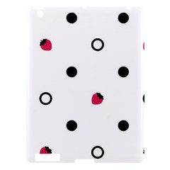 Strawberry Circles Black Apple iPad 3/4 Hardshell Case