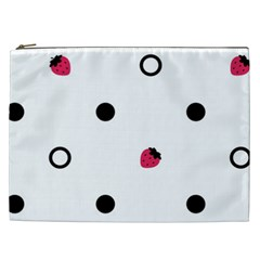Strawberry Circles Black Cosmetic Bag (XXL)