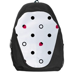 Strawberry Circles Black Backpack Bag