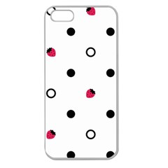 Strawberry Circles Black Apple Seamless iPhone 5 Case (Clear)