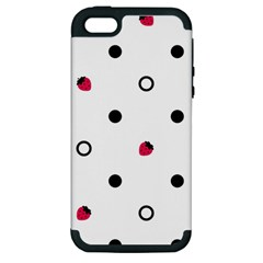 Strawberry Circles Black Apple iPhone 5 Hardshell Case (PC+Silicone)