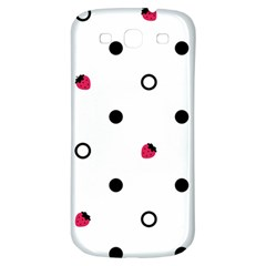 Strawberry Circles Black Samsung Galaxy S3 S III Classic Hardshell Back Case