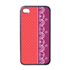 Lace Dots With Violet Rose Apple iPhone 4 Case (Black)