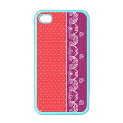 Lace Dots With Violet Rose Apple Iphone 4 Case (color)