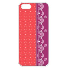 Lace Dots With Violet Rose Apple iPhone 5 Seamless Case (White)