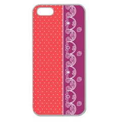 Lace Dots With Violet Rose Apple Seamless iPhone 5 Case (Clear)