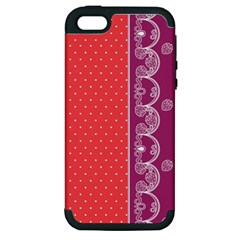 Lace Dots With Violet Rose Apple iPhone 5 Hardshell Case (PC+Silicone)