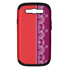 Lace Dots With Violet Rose Samsung Galaxy S Iii Hardshell Case (pc+silicone)