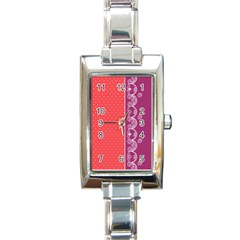 Lace Dots With Violet Rose Rectangular Italian Charm Watch
