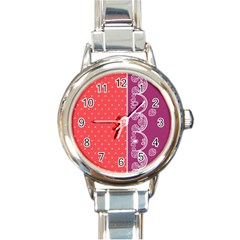 Lace Dots With Violet Rose Round Italian Charm Watch