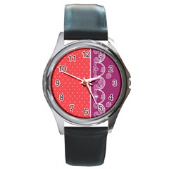 Lace Dots With Violet Rose Round Metal Watch