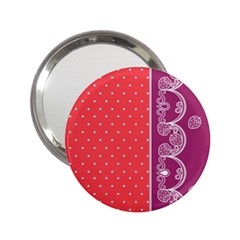 Lace Dots With Violet Rose 2.25  Handbag Mirror