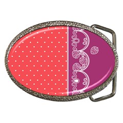 Lace Dots With Violet Rose Belt Buckle