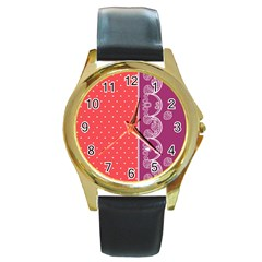 Lace Dots With Violet Rose Round Gold Metal Watch