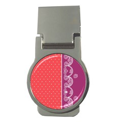 Lace Dots With Violet Rose Money Clip (Round)