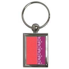 Lace Dots With Violet Rose Key Chain (rectangle)
