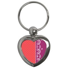 Lace Dots With Violet Rose Key Chain (heart)