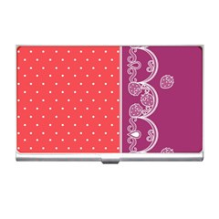 Lace Dots With Violet Rose Business Card Holder