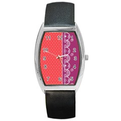 Lace Dots With Violet Rose Barrel Style Metal Watch
