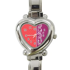Lace Dots With Violet Rose Heart Italian Charm Watch