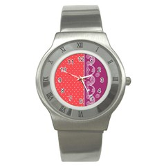 Lace Dots With Violet Rose Stainless Steel Watch