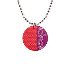 Lace Dots With Violet Rose 1  Button Necklace